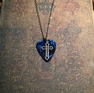 Jewelry - Guitar pick necklace cross necklace